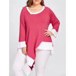 Contrast Plus Size Long Handkerchief T-shirt - WATERMELON RED
