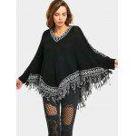 Dolman Sleeve Sweater with Tassels - BLACK