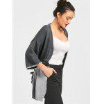 Two Tone Open Front Cardigan - GRAY