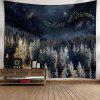 Merry Christmas Tree Wall Tapestry - BLACK BLUE