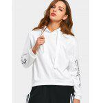 Drawstring Flower Patched Hoodie - WHITE