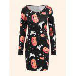 Halloween Ghost Pumpkin Plus Size Bodycon Dress - BLACK