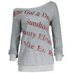 Letter Print Plus Size One Shoulder Sweatshirt - GRAY