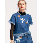 Embroidered Frayed Denim Top - DENIM BLUE