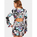 Cut Out Floral Printed Dress - FLORAL