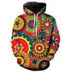 3D Colorful Wheel Gear Print Pullover Hoodie - COLORMIX