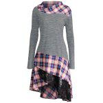 Lace Plaid Panel Plus Size Long Top - GRAY
