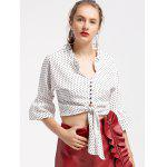 Polka Dot Bow Tied Cropped Blouse - WHITE AND BLACK