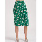 Bird Button Up A Line Midi Skirt - GREEN