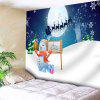 Christmas Snowman Sled Moon Wall Tapestry - WHITE