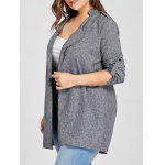 Plus Size Open Front Revers Mantel - GRAU