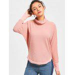 Turtleneck Ribbed Batwing Sleeve Sweater - PINK
