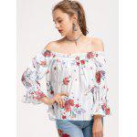 Off Shoulder Stripes Floral Blouse - WHITE