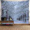 Wall Hanging Snowscape Print Tapestry - WHITE