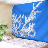 Snow Tree Branch Print Wall Tapestry - BLUE