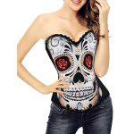 Halloween Skull Print Corset Top - BLACK