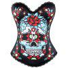 Skull Print Halloween Corset Top - BLACK