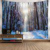 Wall Decor Snowscape Print Tapestry - WHITE