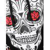 Plus Size Halloween Skull Floral Graphic Hoodie - BLACK