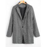 Lapel One Button Patterned Coat - WHITE AND BLACK