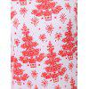 Plus Size Christmas Tree Printed Dress with Sleeves - WHITE