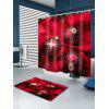 Christmas Cloth Baubles Print Fabric Waterproof Shower Curtain - RED