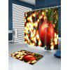 Christmas Bauble Lights Print Fabric Waterproof Shower Curtain - RED