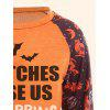 Halloween Printed Plus Size Raglan Sleeve T-shirt - ORANGE