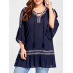 Plus Size Slit Sleeve Ruffle Bohemian Blouse - CADETBLUE