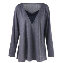 Plus Size Long Sleeve V Neck Tunic T-shirt