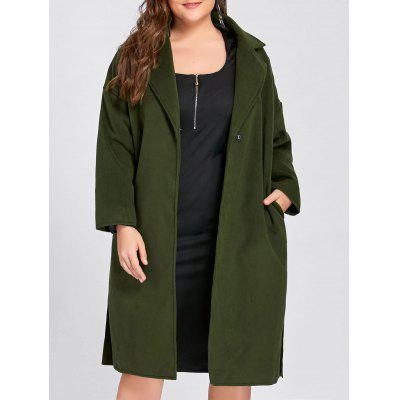 Plus Size Slit Belted Wool Blend Trench Coat