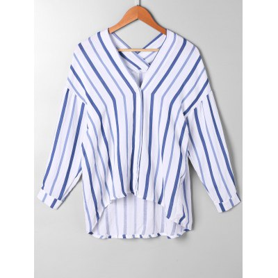 High Low Drop Shoulder Striped Blouse