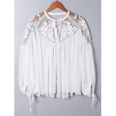 Lace Panel Floral Embroidered Oversize Blouse