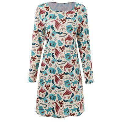Plus Size Long Sleeve Dress for Christmas Day