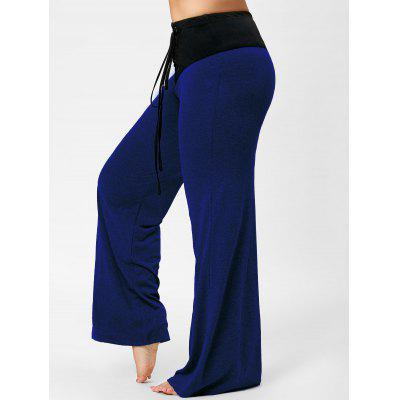 Buy BLUE 5XL Two Tone Plus Size Lace-up Flare Pants for $20.53 in GearBest store
