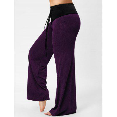 Buy PURPLE 5XL Two Tone Plus Size Lace-up Flare Pants for $20.53 in GearBest store
