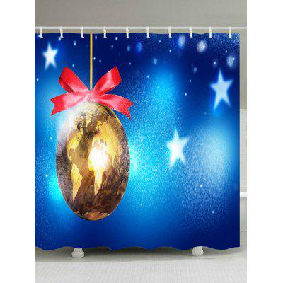 Christmas Map Bauble Print Fabric Waterproof Shower Curtain