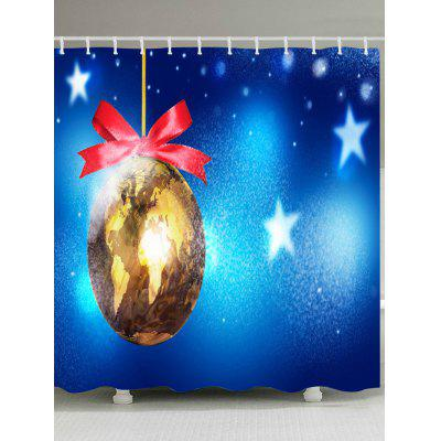 Christmas Map Bauble Print Fabric Waterproof Bathroom Shower Curtain