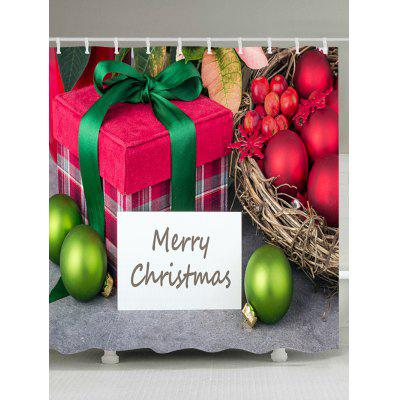 Christmas Baubles Gift Print Fabric Waterproof Shower Curtain