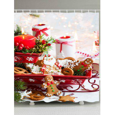 Christmas Candle Cookies Print Fabric Waterproof Bathroom Shower Curtain