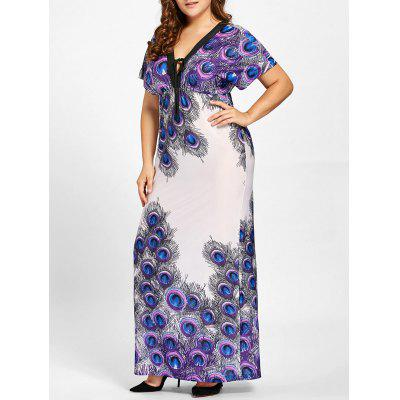 Buy PURPLE 4XL Plus Size Peacock Feather Print Empire Waist Dress for $25.21 in GearBest store