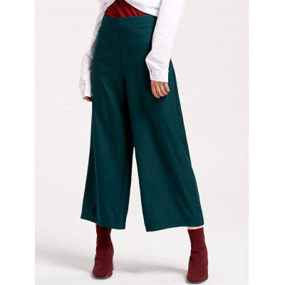 Buy BLACKISH GREEN S Side Zip High Waisted Wide Leg Pants for $22.33 in GearBest store