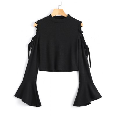 Lace Up Cold Shoulder Knitting Top