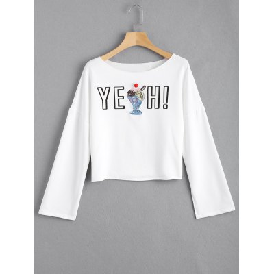 Letter Sequined Open Sleeve Top