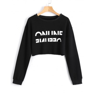 Buy BLACK XL Letter Cropped Contrasting Sweatshirt for $20.41 in GearBest store