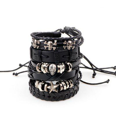 Punk Metal Star Skull Faux Leather Bracelets