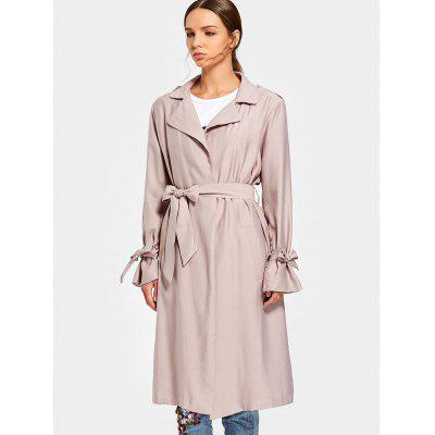 Buy LIGHT PINK M Back Slit Belted Coat with Side Pockets for $47.70 in GearBest store