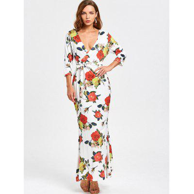 Buy FLORAL M Belted Floral Crossed Front Maxi Dress for $23.10 in GearBest store