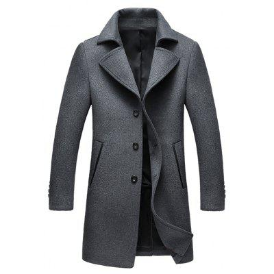Notched Collar Single Breasted Wool Blend Coat
