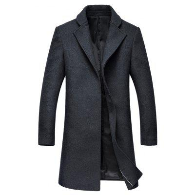 Hook Button Lapel Wool Blend Coat